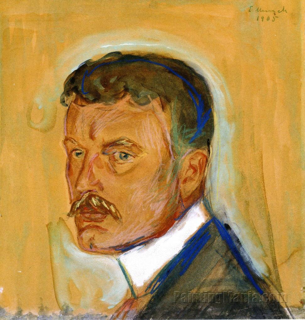 Portrait With Mustache And Starched Collar - Edvard Munch Paintings