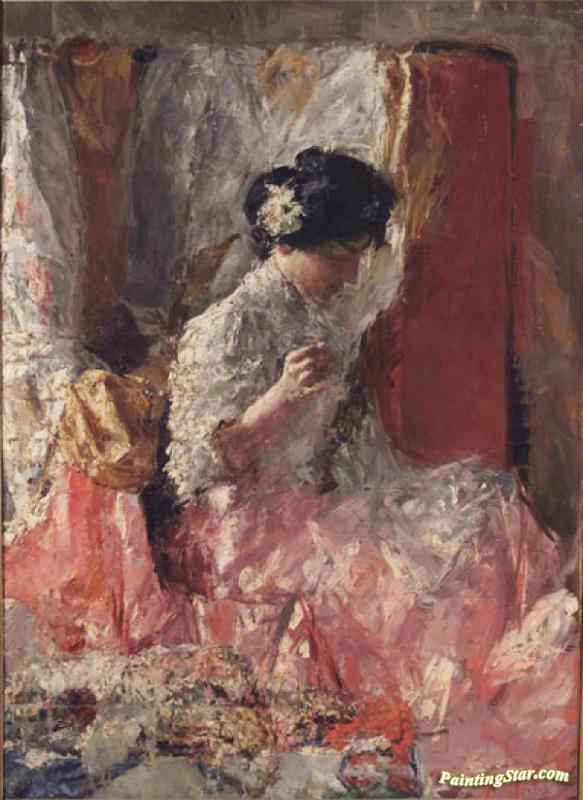 La Cucitrice Artwork by Antonio Mancini Oil Painting  Art