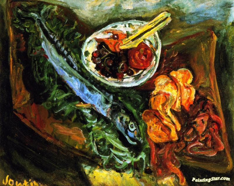 Still Life With Fish And Fruit Artwork By Chaim Soutine