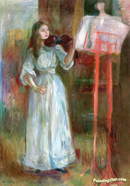 Julie Manet Playing The Violin In A White Dress Artwork By