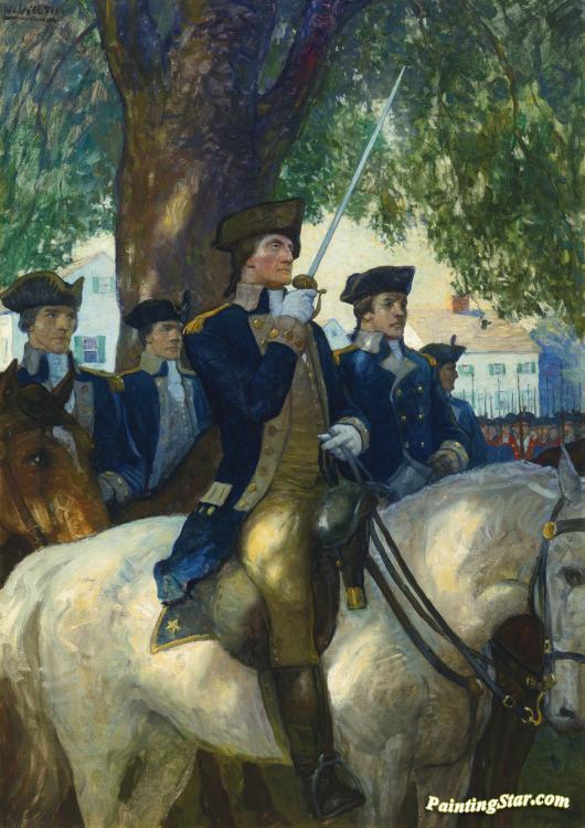 Washington Salutes The Flag As He Takes Command Of The