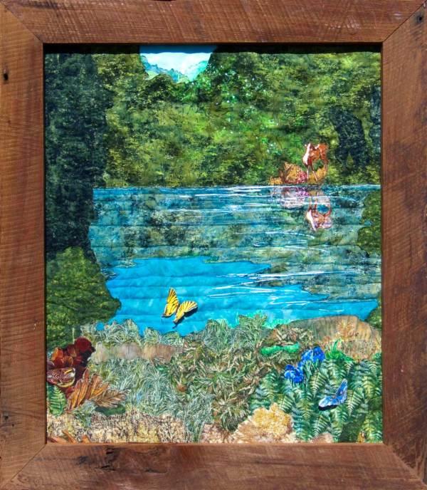 Hideaway Fabric Ladndscape Art Quilt