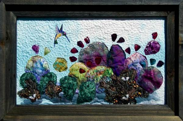 Prickly Pear Haven Fabric Ladndscape Art Quilt
