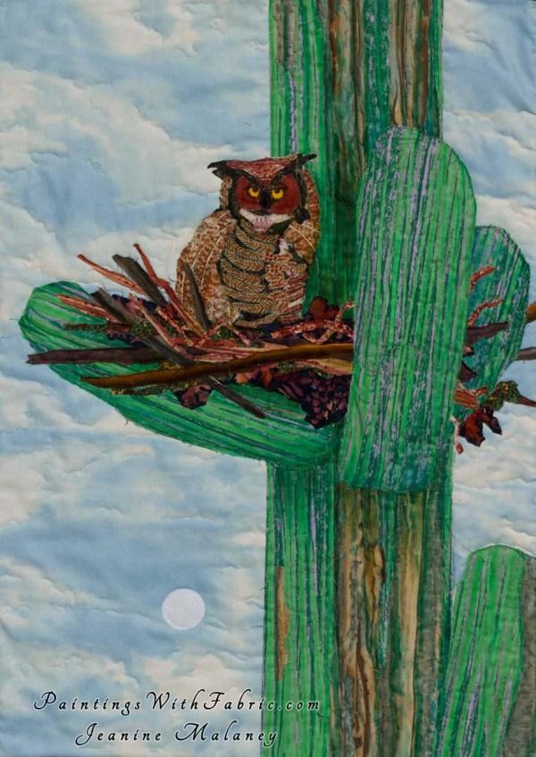 Cactus Home Fabric Ladndscape Art Quilt