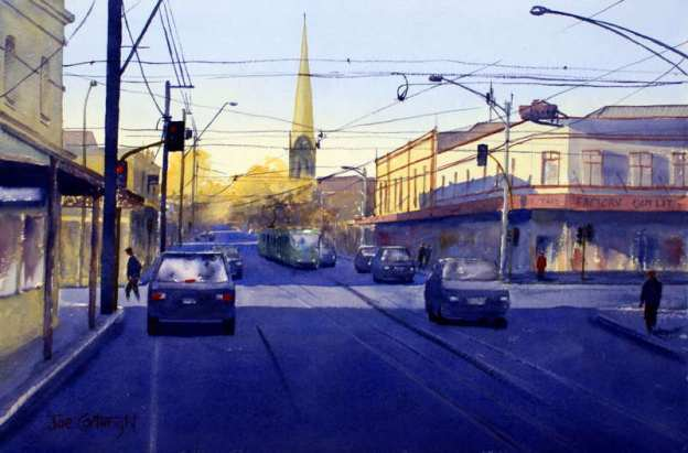 Church Street Melbourne Victoria watercolor painting. Tall steeple church, cars, strong shadows on road with lots of power lines.