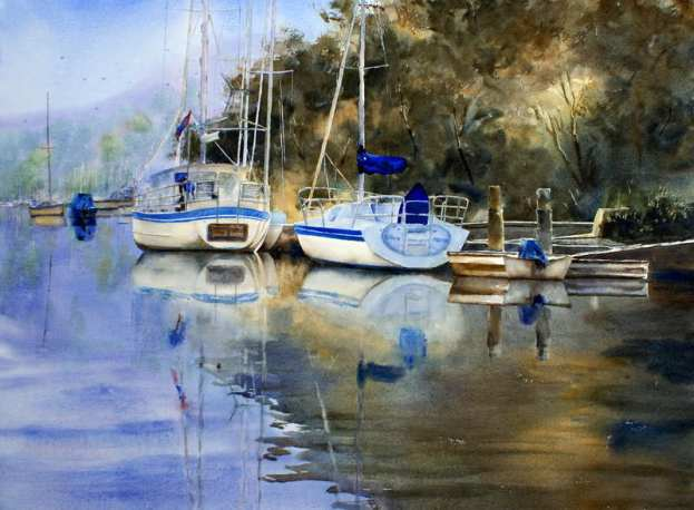 McCarrs Creek with sail boats watercolor painting. Lots of wet on wet reflections.