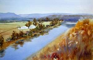 Painting the river and reflections with watercolor