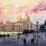 Red Venetian sunset watercolor painting. Santa Maria Della Salute is featured from Piazza San Marco.