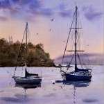 Sailing boats on Shoal Bay at sunset watercolor painting