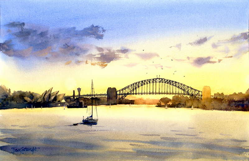 Sydney Harbor Golden Sunset Watercolor Painting Shows Bridge And Opera House With Sail Boat