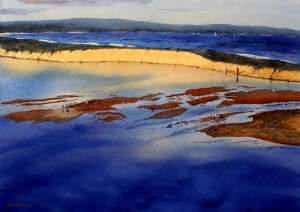 The Entrance Sand Bar watercolor painting. Lots of little sand islands with pelicans.