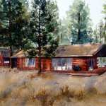 Log cabin and pine trees watercolor painting