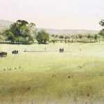 Tumut Farmland landscape watercolor painting