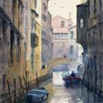 Venice canal with smokey motor boat watercolor painting