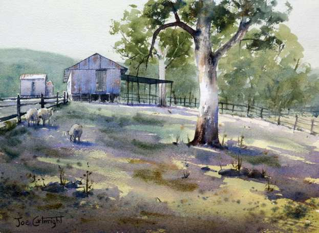 Watercolor painting of shed with strong shadows
