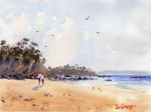 Watercolor seascape painting of Surf Beach, Bateman's Bay, NSW version 2