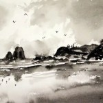 Narooma and Glass House Rocks pen ink and brush painting
