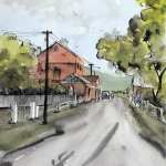 Pen ink and wash Sofala main street