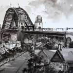 The Rocks, Sydney, from Observatory Hill pen and ink painting. Habor Bridge above The Rocks area.