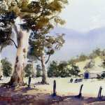 Watercolour Painting Landscape of Australian farmland
