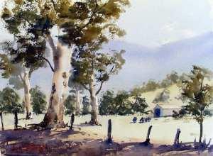 Watercolour landscape painting of Australian farmland