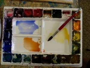 painting gum tree trunk initial watercolor mixtures in watercolor palette