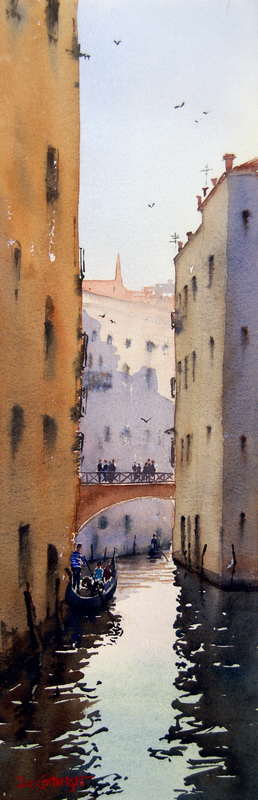 Narrow Venice Canal finished watercolor painting
