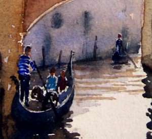 Painting the gondola and gondolier of venice