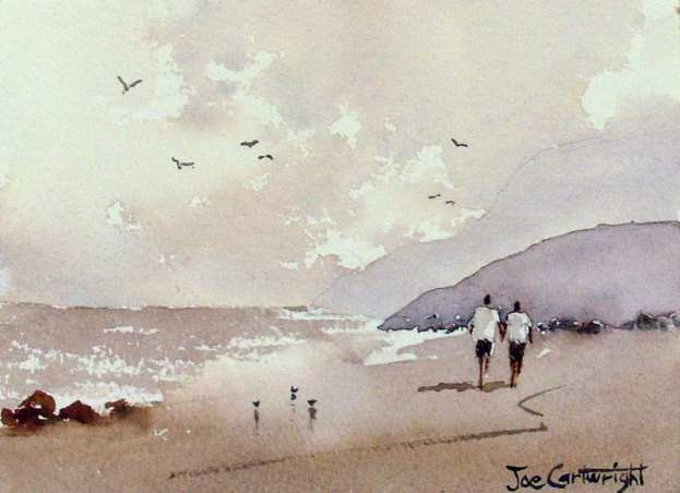 Painting the sea, people and birds with watercolor