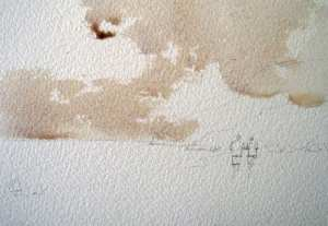 Figure 3: Lay in the sky watercolor wash over the pre wet sky area.