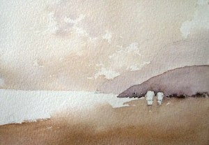How to paint sand with watercolor. Painting sand on beach with watercolor