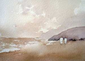 Painting the sea with watercolor
