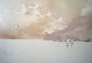 Watercolor painting of distant hills