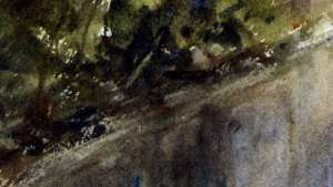 Dry brush strokes to create edge between road and foliage