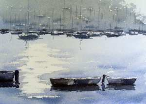 Painting row boat reflections with watercolor paint