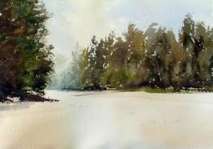 Watercolor painting of foreground mass of trees with fan brush