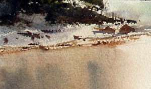 Watercolor painting of more rocks and twigs on sand bank