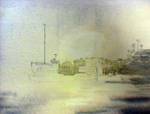 Painting the highlights in the mass of boats. Watercolor painting.