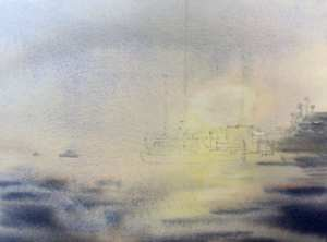 Painting shore in mist scene.Soften edges around sun with damp brush and lift out any lost sun reflection highlights in the water