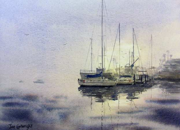 Watercolor painting demonstration of boats and early morning rising mist