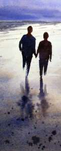 Painting reflections of two persons walking on wet sand