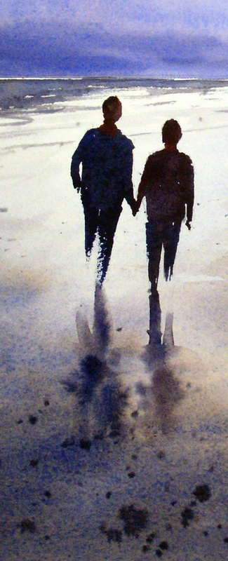 Painting Walking Figures On A Wet Sand With Watercolor