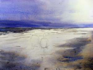 Painting the sea and waves breaking on beach with watercolor paints