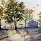 Painting shadows finished Light over Shearing Shed
