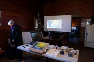 My workshop set up including video camera and projector