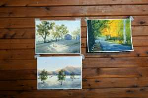 Wallabadah watercolor workshop paintings Aug 2012