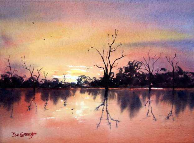 Watercolor painting demo of warm red sky and reflections