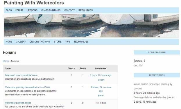 Watercolor painting forum registration steps