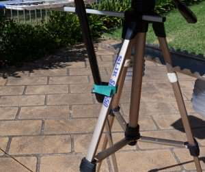 Umbrella connected to watercolor easel with Velcro