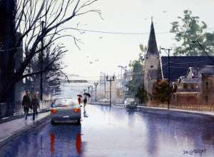 Bathurst in the rain wet weather street painting by Joe Cartwright